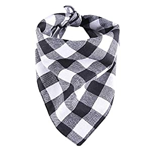 YAKA Pet Dog Bandana Triangle Bibs Scarf, Double-Cotton Plaid Printing Kerchief Set Accessories for Small and Medium Dog (Small/Neck Circumference suitable8.6-15inch, Black and White lattices)