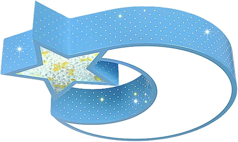 YAYONG Deckel Lampen Kinder-Lampe Bedroom Lampe Studie Lamp Light Girl Fashion Cartoon Star Moon,Blau,52  9Cm