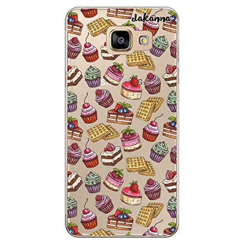 dakanna Funda Compatible con [Samsung A5 2016] de Silicona Flexible, Dibujo Diseño [Patrón de postres y Dulces], Color [Fondo Transparente] Carcasa Case Cover de Gel TPU para Smartphone