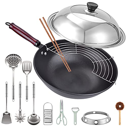 DZZIT 13' Carbon Steel Wok, 14 Pcs with Lid Round Bottom Wok Set, No Chemical Coated Chinese Wok, 12 Cookware Accessories, Wok with Detachable Wooden Handle, for Gas Stove or Cassette Furnace
