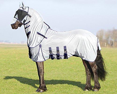 QHP Fliegendecke XL für großrahmige Pferde mit Hals und Hut grau, 3 Bauchgurte, Frontverschluss, Schweiflatz (155 cm)