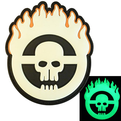 2AFTER1 Glow Dark Mad Max Fury Road Skull Flames PVC Rubber 3D Touch Fastener Patch