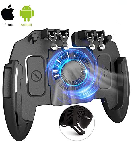 [The Latest Version] Mobile Game Controller 4 Trigger with 4000mAh Power Bank Cooling Fan for PUBG/Call of Duty/Fotnite [6 Finger Operation] L1R1 L2R2 Gamepad Trigger for 4.7-6.5