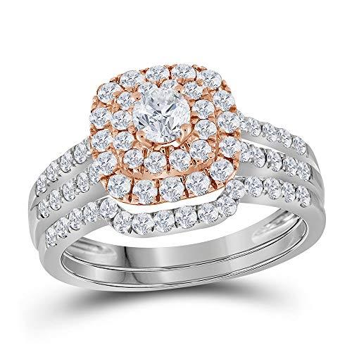 DazzlingRock Collection Mujer Niñas 14 quilates Oro bicolor. redonda G-H diamante blanco