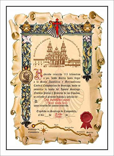 Diploma del Camino de Santiago Personalizado con su Nombre y Fecha, Desde Sarria, con el Texto en Español Sin Marco. (Mod: ESP-SM V01)