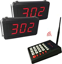 Wireless Queue Calling System Pager - Take A Number System Waiting Number System Customer Number System for Restaurant Hospital Bank Waitting Line Management (1 keypad+2 Display)