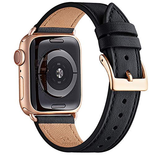 QAZNZ Lederarmband Kompatibel mit Apple Watch Armband 40mm 38mm 44mm 42mm, Original Leder Ersatzband Kompatibel mit iWatch Serie 6 5 4 3 2 1 & iWatch SE(42mm 44mm,Schwarz/Roségold)