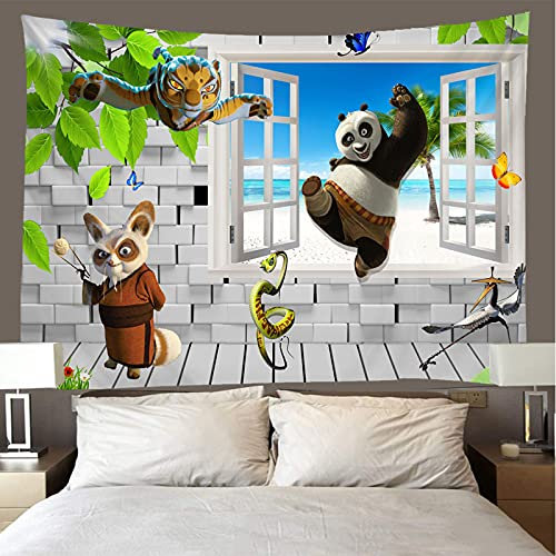 H/H 3D Tapestry Kungfu Panda A867 Hippy Tapestries Beach Towel Blanket,Picnic Beach Sheet, Table Cloth, Decorative Wall Hanging 150X150Cm
