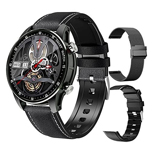 FMSBSC Reloj Inteligente Hombre Smartwatch - Medidor de Temperatura Corporal,Llamadas Bluetooth, Pulsómetros, Monitor de SpO2, Ritmo Cardíaco, Pulsera Actividad Inteligente para Android iOS,Negro