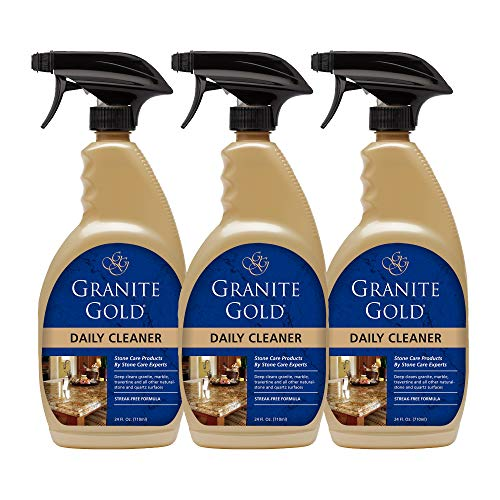 Granite Gold Daily Cleaner Spray Streak-Free Cleaning for Granite, Marble, Travertine, Quartz, Natural Stone Countertops, Floors - Made in the USA, 24 Ounces, 3 Pack