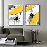Astratte Ragazze Moderne Grigio Silhouette Poster su Tela e Stampa Figure Art Immagine a Parete per Soggiorno Camera da Letto 50x70cmx2 Senza Cornice