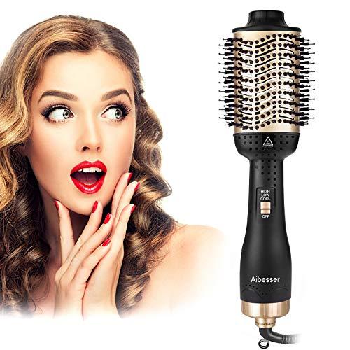 Aibesser Haartrockner, 5 In 1 Upgrade Warmluftbürste Hair Dryer Volumizer Styler Heißluftbürste Negativer Ionen Föhnbürste Stylingbürsten Haarglätter Bürste Heißluftkamm Für Alle Styling