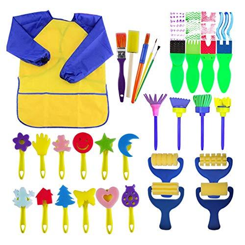 EVNEED 29 Pièces Éponge Brosses de Peinture Enfant Ensemble Pinceaux de Peinture et Tablier Art DIY Outils de Peinture d'Apprentissage Précoce d'Enfant