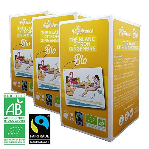 Les Papoteuses | Té blanco con limón y jengibre orgánico | certificado orgánico y comercio justo | Té orgánico 24 sobres | lote de 3 cajas