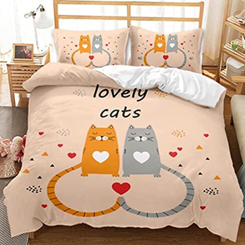 LIANHUAA Juego de ropa de cama con dibujos animados de gatos, 3D, funda nórdica de microfibra, para niños, niñas, dormitorio, 200 x 200 cm (200 x 200 cm)