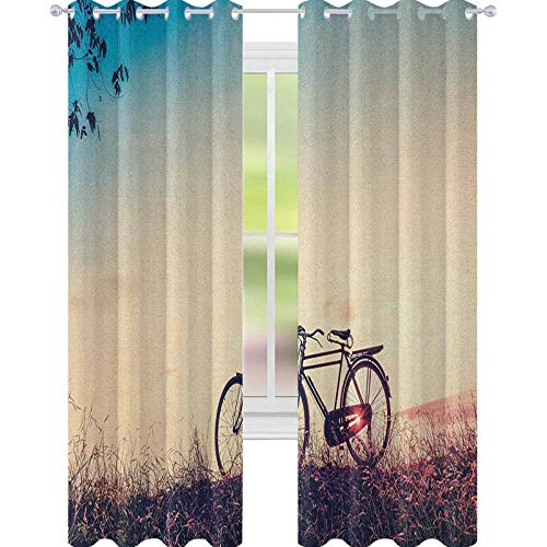 YUAZHOQI Vintage Bike Blackout Curtains for Bedroom Retro Filter Sunset and Bicycle in Pastel Tones Hipster Joyful Blackout Curtains for Kids Bedroom 52' x 84' Peach Pale Blue Black