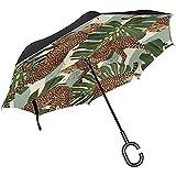 Elxf Paraguas de Lluvia Invertida Invertida Sol Tropical Animal Selva Leopardo León Hojas de Palma Sombrillas Reversibles a Rayas