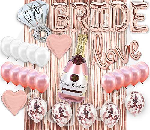 Bridal Shower Decorations, Bachelorette Party Decorations Supplies, Bridal shower Balloon Kit, Rose Gold Party Decorations, Bride Banner Foil Curtain Rose gold Champagne Bottle Balloon