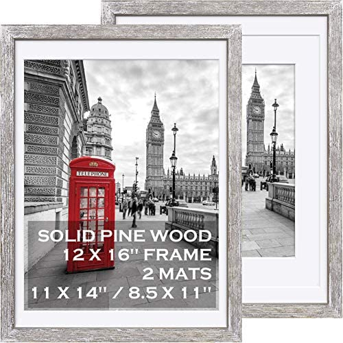 12x16 Rustic Picture Frames Solid Wood Display Pictures 11x14 or 8 5x11 Diplomas with Mat or product image