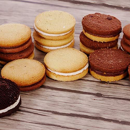 Gefüllte glutenfreie Kekse 5 verschiedene Sorten | glutenfrei, laktosefrei,| Großpackung Creme Kekse | Superfood Pausensnack für Allergiker | Kakao - Vanille - Zitrone - Kokos - Mix