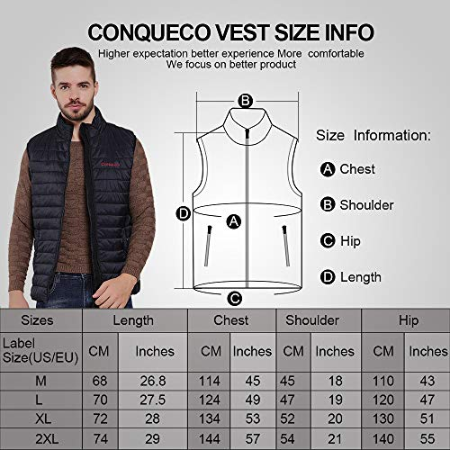 CONQUECO Men's Heated Vest Slim Fit Electric Heating Gilet with Battery Pack in Winter Warm for Outdoor Camping Hiking Hunting (Black, L)