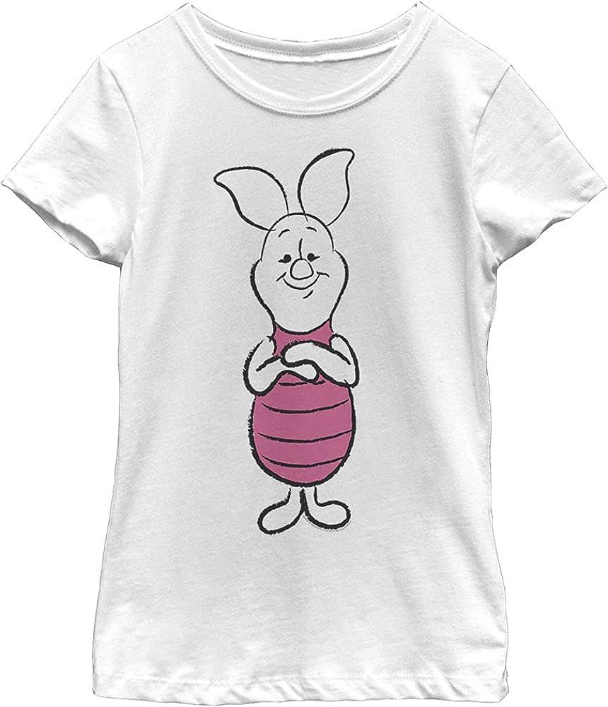 Disney Winnie The Pooh Basic Sketch Piglet Girl's Solid Crew Tee