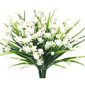 Ruiuzi Oong – Flores artificiales resistentes a los rayos UV, arbustos verdes para interior y exterior, para decoración…