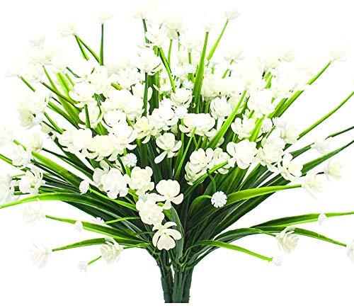Ruiuzioong Künstliche Blumen, UV-beständig, grüne Sträucher, Pflanzen, für drinnen und draußen, zum Aufhängen, Pflanzgefäß, Heimdekoration (Weiß, 4 Stück)