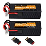 Youme 2Packs 4S Lipo Battery,14.8V 6200mAh Lipo Battery Hard Case 50C with Tracxas and T Plug for 1/8 Scale Electric RC Buggy Truggy Crawler Monster Off-Road Car Boat Truck Roar Tracxas Slash 4X4