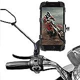 AETKFO Soporte Movil Moto, Porta Movil Motocicleta para Espejo Retrovisor Teléfono Soporte Aluminio Supporto Telefono per Soporte Bicicleta para 4.0-6.5 Pulgadas Smartphone, Rotación de 360 Grados