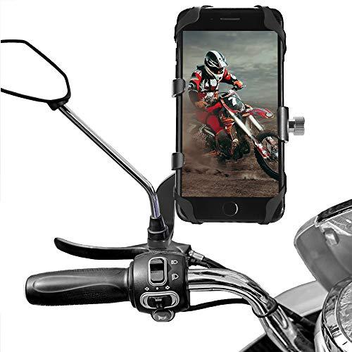 AETKFO Porta Cellulare per Moto, Porta Cellulare Motociclo Specchietto Retrovisore Supporto Telefono Bicicletta Alluminio per Scooter Porta Cellulare Bici Universale per 4,0-6,5 Pollici, 360° Rotabile