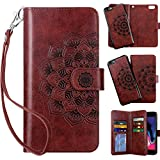 Vofolen 2-in-1 Case for iPhone 6S Plus Case iPhone 6 Plus Wallet Card Holder Detachable Flip Cover Magnetic Folio PU Leather Protective Slim Shell Wrist Strap for iPhone 6 Plus 6S Plus Mandala Red
