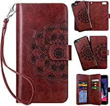 Vofolen 2 in 1 Case for iPhone 6 Case iPhone 6S Case Wallet Folio Flip PU Leather Case Protective Hard Shell Magnetic Detachable Slim Back Cover Card Holder Slot Wristband for iPhone 6 6S Mandala Red