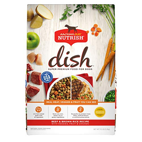 Rachael Ray Nutrish Dish Premium Natural Dry Dog Food, Beef & Brown Rice Recipe with Veggies, Fruit & Chicken, 11.5 Pounds