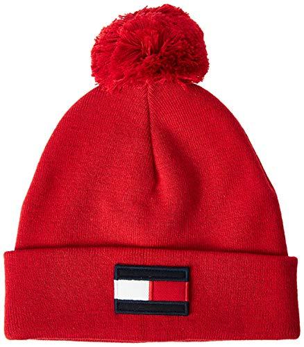 Tommy Hilfiger AU0AU00800 Flag Beanie Hut Unisex Boys RED L/XL