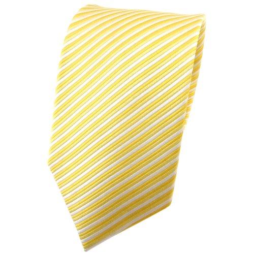 TigerTie diseñador corbata de seda - amarillo luz amarilla plata rayas