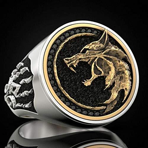 Herren Hexenjäger Wolf-Greifer-Ring-Weinlese Viking Warrior Punkring Biker Rock-Ringe Statement Schmuck,Gold,8