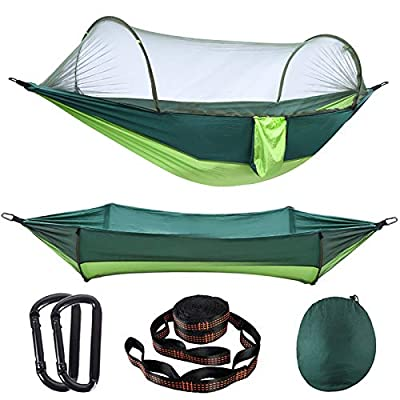 AMZQJD Camping Hammock with Automatic Pop-up Mosquito Net, Portable Single & Double Hammock with Tree Straps, Carabiners and Storage Bag for Outdoor, Travel, Hiking(Fruit Green)