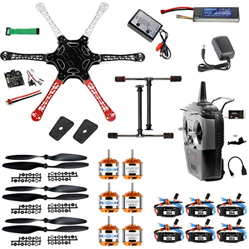 FEICHAO F550 Flugzeugzelle DIY Drone Kit PNF Demontage Combo Set mit KK Multicopter Flight Controller für Anfänger (mit Batterie und Fernbedienung)