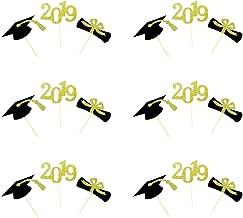 BESTONZON 24PCS 2019 Graduation Cupcake Toppers Congrats Grad Cake Graduation Party Decoration (Mixed Color)