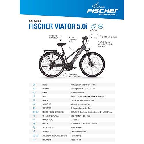 FISCHER Damen – E-Bike Trekking VIATOR 5.0i (2019), grau matt, 28″, RH 44 cm, Brose Mittelmotor 50 Nm, 36V Akku Bild 4*
