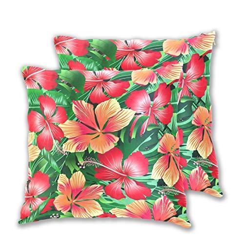 Emoya Fundas de cojín de 50 x 50 cm, diseño de flores de hibisco cuadradas, para salón, sofá, dormitorio, 50 x 50 cm, paquete de 2