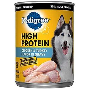 PEDIGREE High Protein Adult Canned Wet Dog Food, Chicken & Turkey Flavor in Gravy, (12) 13.2 oz. Cans