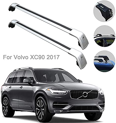 Techos Barras cruzadas de techo para Volvo XC90 XC-90 2017, portador de equipaje con llave aleación de aluminio Carrier de carga en la azotea barras de equipaje 2 PCS Automotriz Exterior Accesorios Ra