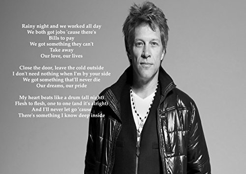 Bon Jovi - Born To Be My Baby - Lyrics - Gary Holt Paul Bostaph Great Rock Metal Album Cover Design Music Band Beste Fotobeeld Unieke Print A4 Poster