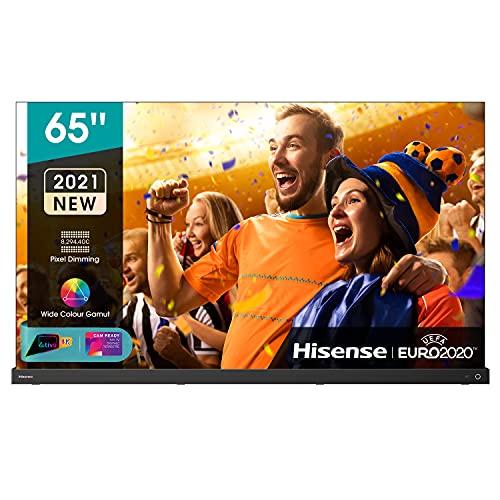"Hisense 65"" OLED 4K 2021 65A98G, Soundbar Integrata 2.1.2 120W Dolby Atmos, Smart TV VIDAA 5.0, HDR Dolby Vision IQ, Controlli vocali Alexa / Google Assistant, Tuner DVB-T2/S2 HEVC 10, lativù 4K"