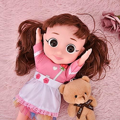 Juguete de muñeca de voz eléctrica, con maleta de oso de peluche, colorido, suave, sin rebabas, juguete de muñeca de voz, forma realista para regalo de cumpleaños para niñas