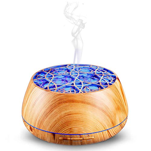 Hacevida Aromatherapy Essential Oil Diffuser with Speaker, 400ml Wood Grain Adjustable Mist Humidifier with Color LED Lights Auto Shut-off, Cool Mist Ultrasonic Humidifier for Office Home Baby Bedroom