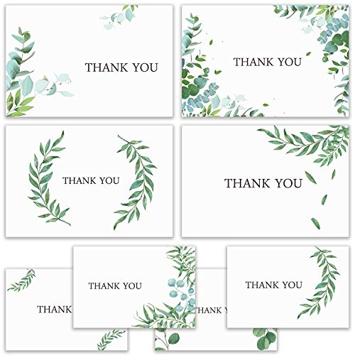 Hibery 80 Count Thank You Cards with Envelopes, Thank You Cards Notes, Wedding Baby Shower Thank You Cards Bulk with Envelopes and Stickers, Blank on the Inside for Teacher, Wedding and Other Occasion
