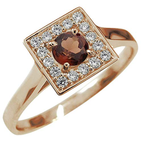 [プレジュール]ガーネットリング 一粒 ガーネット リング K18 ピンクゴールド 指輪